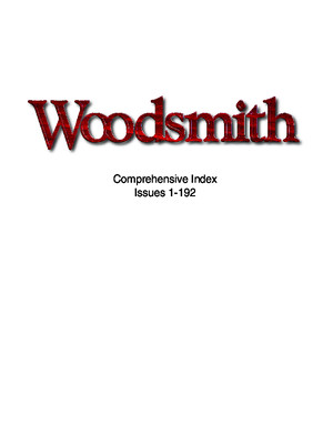 Woodsmith Magazine Index