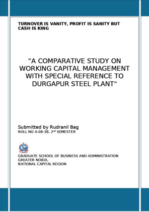 Working Capiatal Management-Durgapur Steel Plant