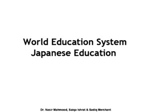 World Education System- Japanese Education