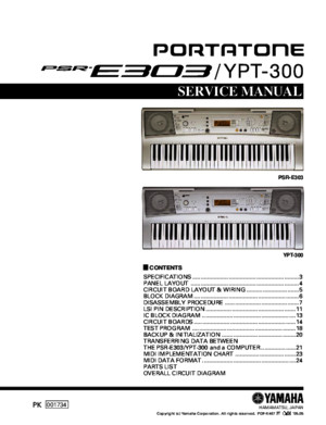 Yamaha Psre303 Service manual