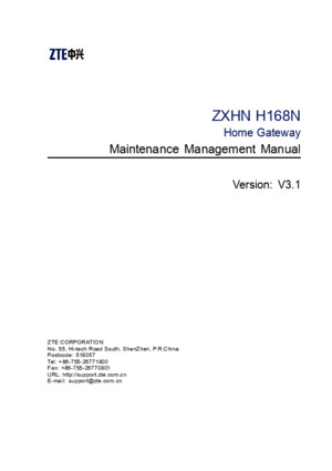 ZXHN H168N (V31) VDSL2 Modem Maintenance Management Manual