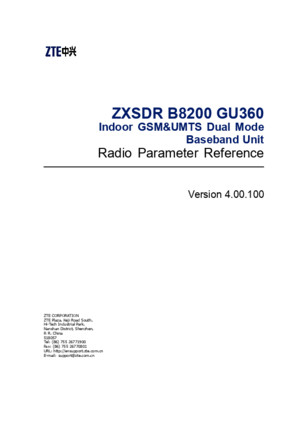ZXSDR B8200 GU360 (V400100) Radio Parameter Reference