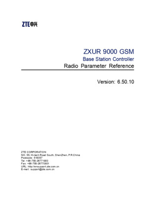 ZXUR 9000 GSM (V65010) Base Station Controller Radio Parameter Reference