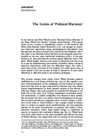 Alex Callinicos the Limits of 'Political Marxism'