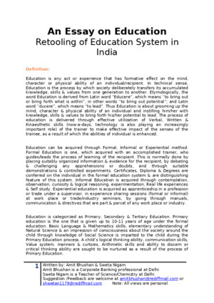 An Essay on Education - Analysis of Education System in India What we need to modify?