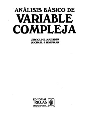Analisis Basico Variable Compleja Marsden Hoffman