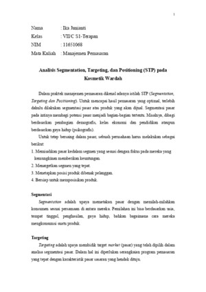 Analisis STP (Segmentation, Targeting, Positioning) Kosmetik Wardah