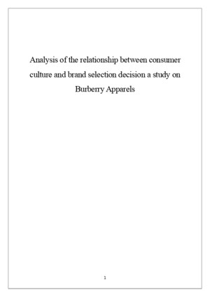 Analysis of the relationship between consumer culture and brand selection decision a study on Burberry Apparelsdocx
