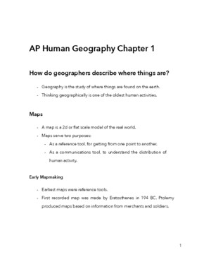 AP Human Geography Chapter 1 Notes