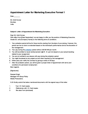Appointment Letter for Marketing Executive Format 1docdocx
