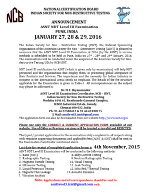 ASNT Level III Announcement Jan2016