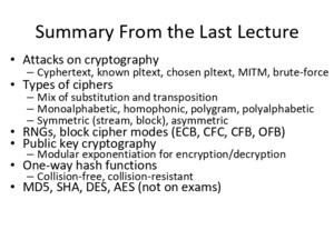 Attacks on cryptography – Cyphertext, known pltext, chosen pltext, MITM, brute-force Types of ciphers – Mix of substitution and transposition – Monoalphabetic,