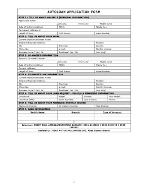 Autoloan Application Form - Mitsubishi Motors Philippines Corporation