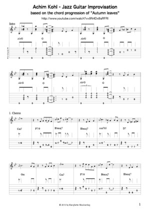 Autumn Leaves Transcription Achim Kohl Jazz Guitar