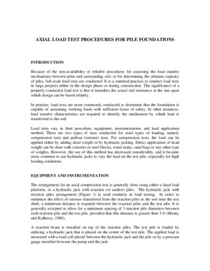 Axial Load Test Procedures for Pile Foundations