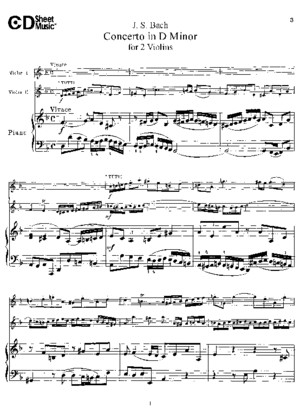 Bach Double Violin Concerto in D Minor Violin Solo and Piano
