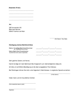 Bahncard Cancellation Form