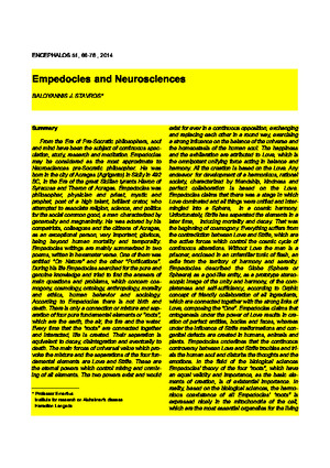 Baloyannis S J - Empedocles and Neurosciences - 2014