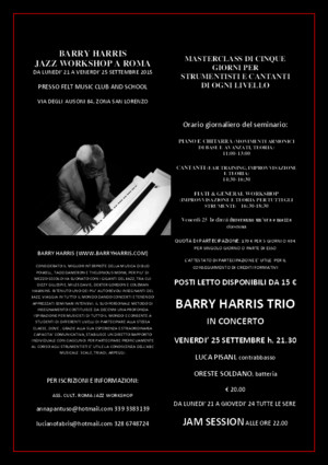 Barry Harris Settembre 2015 Locandina Workshop