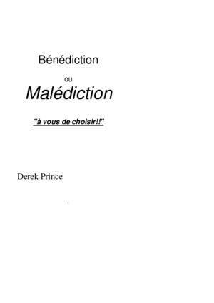 Bénédiction ou malédiction EBOOK Derek PRINCE
