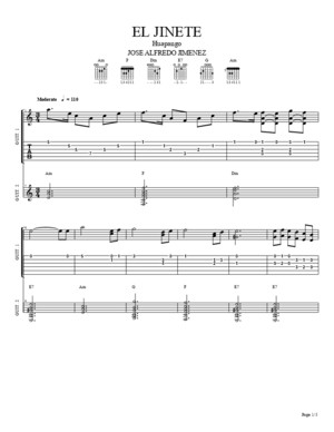 1 El Jinete Partitura Tablatura