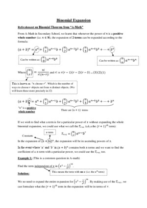 Binomial Series Expansion