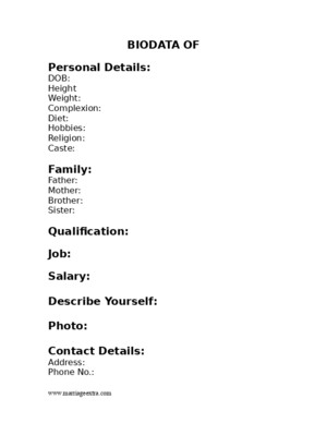 Biodata for Marriage - Border Format