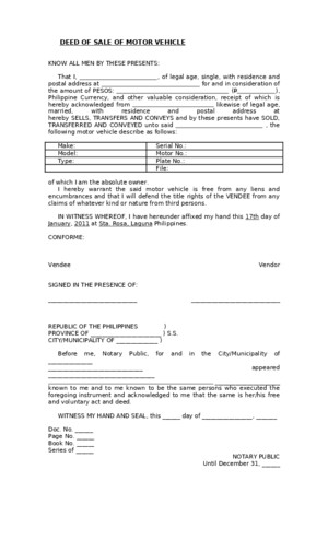 Blank Deed of Sale of Motor Vehicle Template