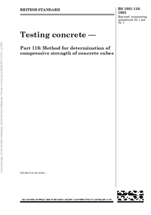 BS 1881 116 1983 Testing Concrete Method for Determination of Compressive Strength of Concrete Cubes