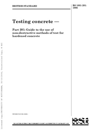 BS 1881-201 - Testing Concrete Guide to the Use of Non-Destructive Methods of Test for Hardened Concrete