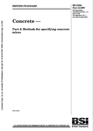 BS 5328 - Concrete, Part 2, Methods for Specifying Concrete Mixes