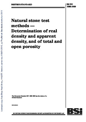 [BS en 1936-1999] -- Natural Stone Test Methods Determination of Real Density and Apparent Density and of Total and Open Porosity (1)