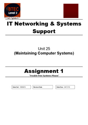 BTEC National Level 3 IT Maintaining Computer Systems Assignment 1