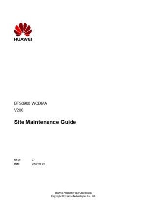 BTS3900 WCDMA Site Maintenance Guide(V200_07)