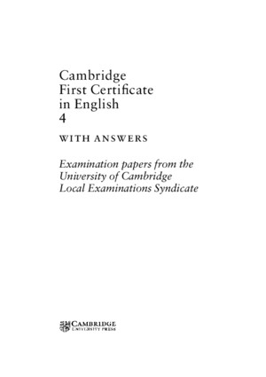 Cambridge First Certificate in English 4 With Answers