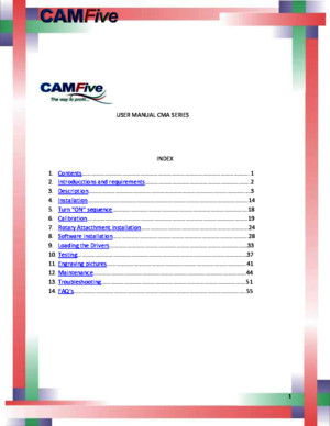 CAMFive Laser CMA Series English Manual - Installation and Operation 2013-2014