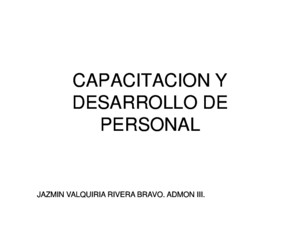 Capacitacion y Desarrollo de Personal Power Point