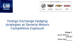 Case Solution for Foreign Exchange Hedging Strategies at General Motors: Competitive Exposures