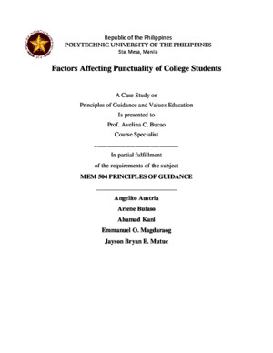 Case Study on Factors affecting puntuality of college students