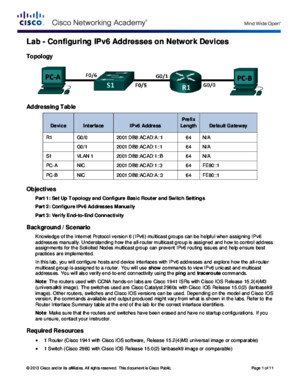 CCNA 8255 Lab - Configuring IPv6 Addresses on Network Devices