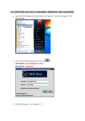CEIC Data Manager Username and Password