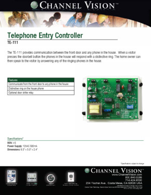 Channel Vision TE111 Data Sheet