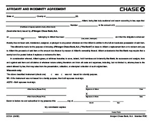 CHASE Affidavit and Indemnity