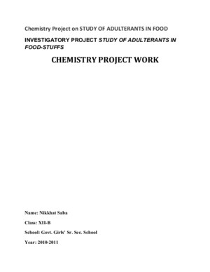 Chemistry Project on Study of Adulterants in Food