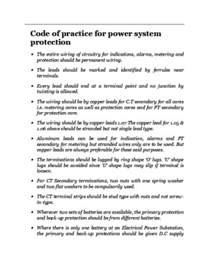 Code of Practice for Power System Protection