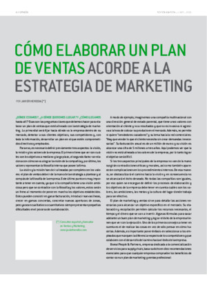 Como elaborar un plan de Marketing acorde a la estrategia de Ventas