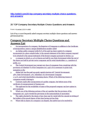 Company Secretary Multiple Choice Questions and Answers List