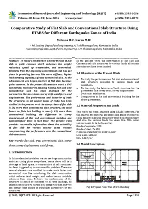 Comparative Study of Flat Slab and Conventional Slab Structure Using ETABS for Different Earthquake Zones of Indiapdf