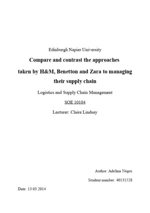 Compare and Contrast Approaches Taken by HM, Zara and Benetton in Their Supply Chain Management
