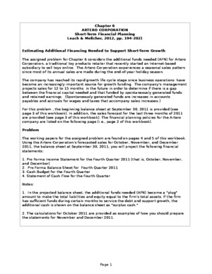 Completed Chapter 6 Problem Working Papers for Artero Corporation Fall 2014